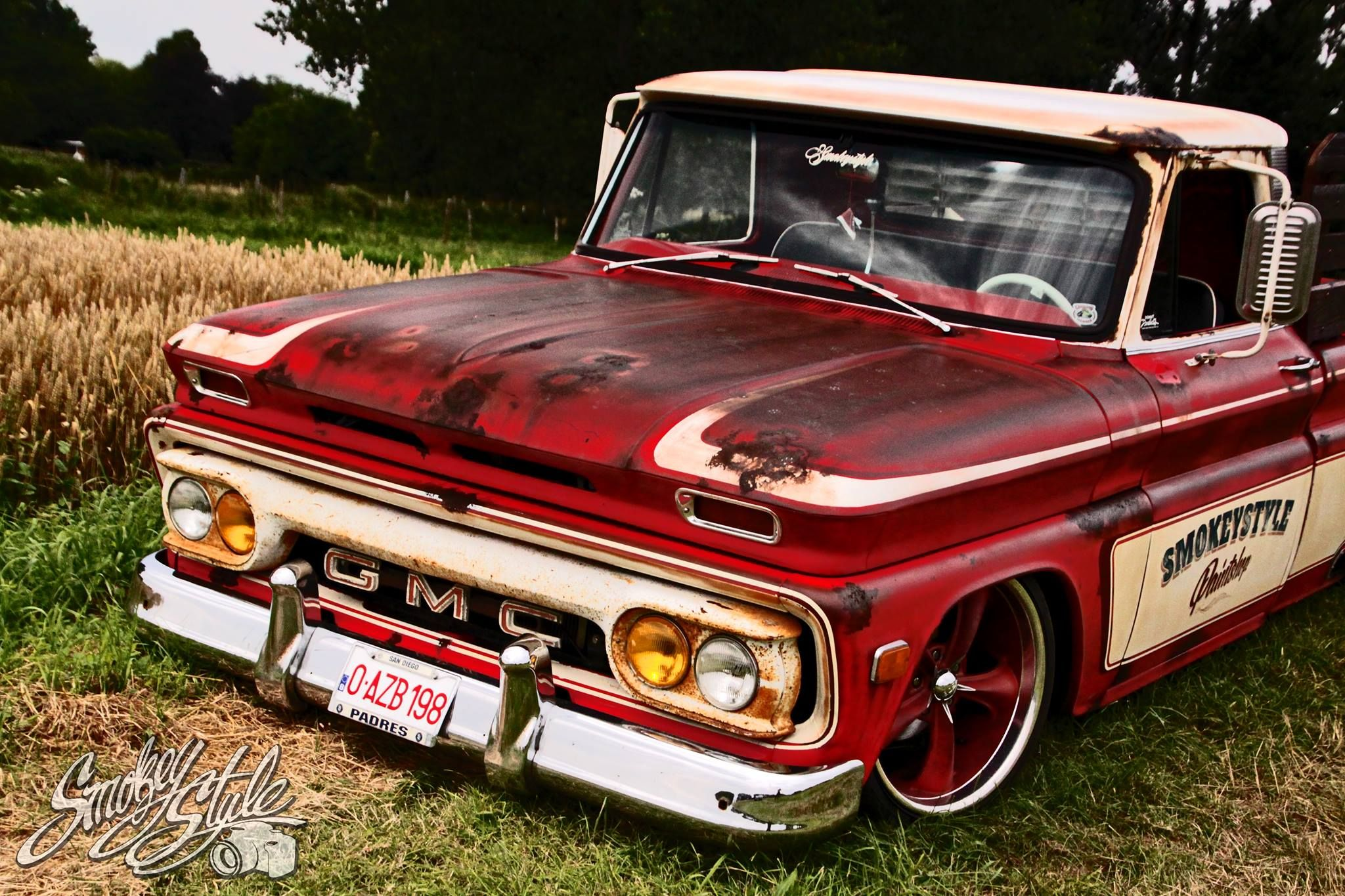 Fautina 1964 66 chevy c10 slammed over big five spoke wheels with shop graphics and