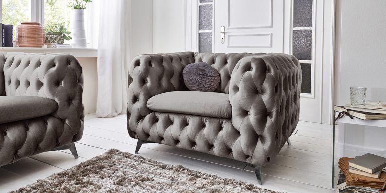 Designer Chesterfield Sessel Samt Stoff Silber Grau Emma 1 Sitzer In 2020 Couchgarnitur Chesterfield Sofa Chesterfield Sessel