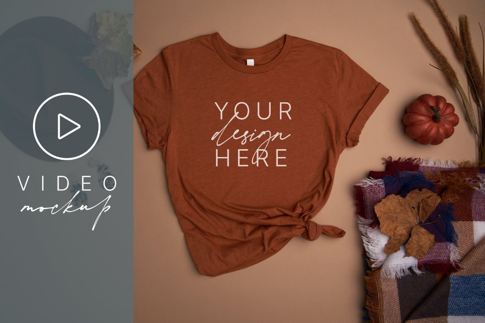 Download Video Mockup Fall Video T Shirt Mockup Bella Canvas 3001 Etsy Video Mockup Shirt Mockup Tshirt Mockup
