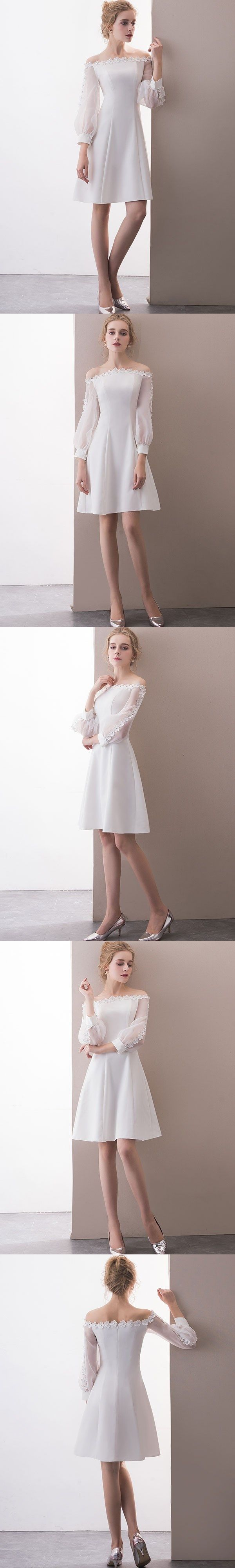 Long sleeve cute homecoming dresses aline short prom dress party