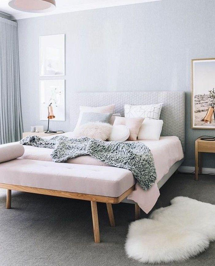 la plus belle chambre du monde, couleur pastel en gris et rose pale - couleur tendance chambre a coucher