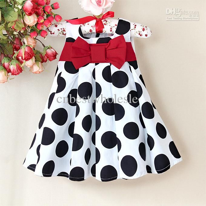 5c63396b8559 Wholesale Classic baby girls 6M-4T toddlers infant baby princess dresses  kids girl summer bowknot bow birthday party black white polka dots dress