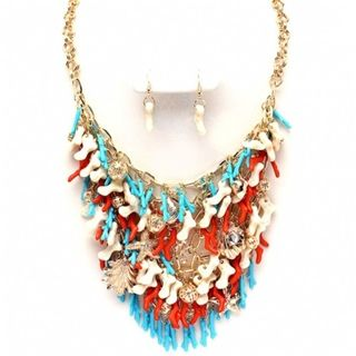 Jeri's Coral Red, Blue & White Beach Themed Necklace Set at Fantasy Jewelry Box  $49.95