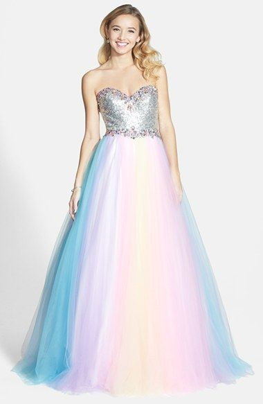 1a5dda75c08 Free shipping and returns on Mac Duggal Rainbow Gown (Juniors) at Nordstrom.com.  Candy-colored crystals and shimmering silver sequins illuminate the ...