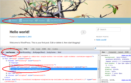 WordPress Custom Menu Screenshot of developer tools 1