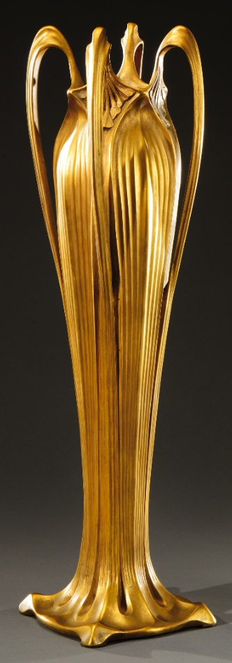 PAUL FOLLOT gilded bronze vase with four large plant like handles. Signed «Follot». Circa 1904-1905. H : 20 ¼ in | SOLD 4,200 EUR, Paris, 2014