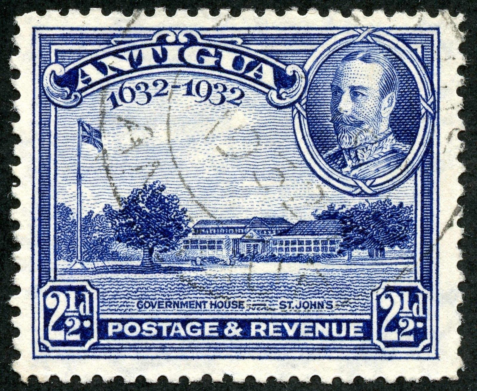 Antigua 1932 Scott 71 2 189 D Ultramarine Quot Government House St John S Quot Antigua Stamp Collecting