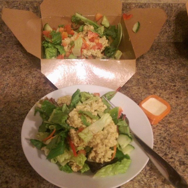 Do you have your portions in check? Just because is healthy doesn't mean it's good for you! Check out this take out salad I got from our local #vegan cafe. It's a tempeh salad over greens with ginger dressing. And twice as big as it needs to be! So I measured out my portions ( 2 greens, 1 red & 1 orange) and boxed up the rest for lunch tomorrow!