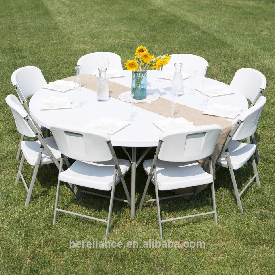 4ft Or 6ft Hot Sale Foldable White Plastic Round Table Folding Table Lancaster Table Table Seating