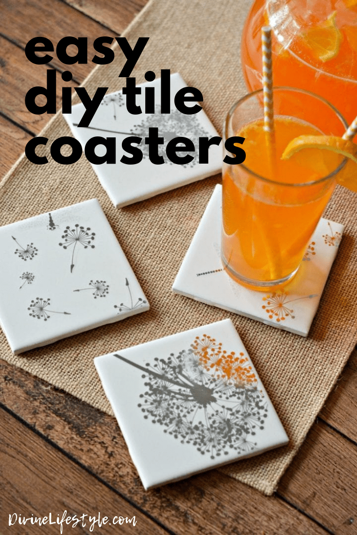 Diy Projects For Couples Friends Easy Diy Tile Coasters Gift Girls Night In Craft Divine Lifestyle In 2020 Diy Coasters Tile Diy Tile Coaster Crafts
