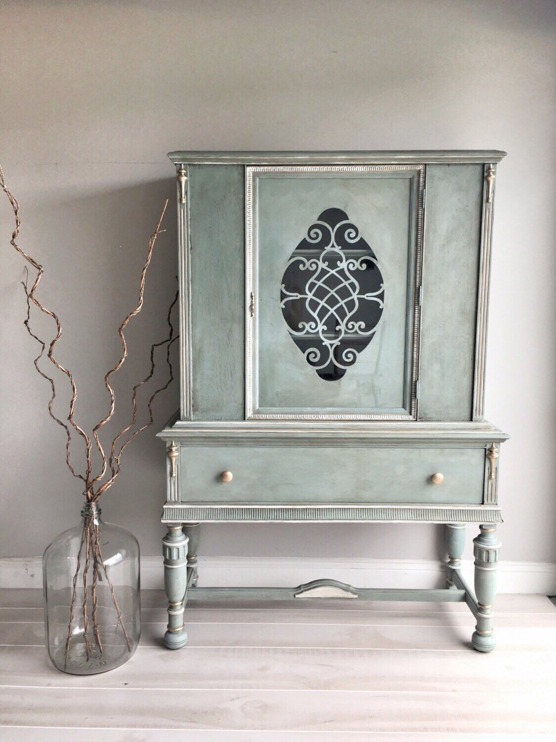 Reloved Chalk Painted Blue Green Vintage China Cabinet Located in Tampa Florida by RelovedHomeDesigns on Etsy https://www.etsy.com/listing/482164355/reloved-chalk-painted-blue-green-vintage