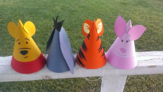 8 Winnie the Pooh Birthday Party Hats- Pooh & Frends