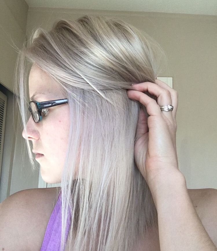 Follow Style by Emily on FB Silver hair, medium hair, beige hair, white blonde, matrix color, platinum blonde, ash blonde
