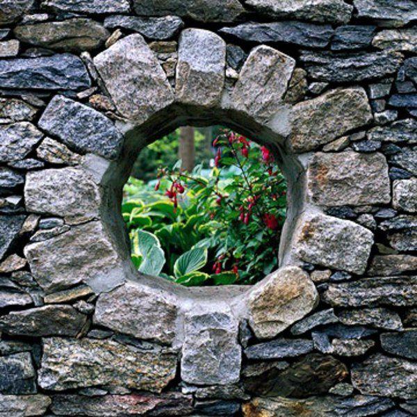 mauer aus steinen außenarchitektur art ideen im garten - garten sichtschutz stein
