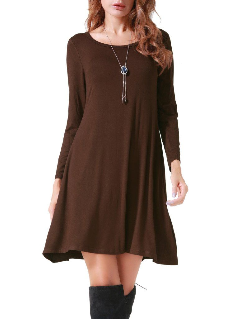 a0cb407c6f43 Costyleen Womens Casual Long Sleeve Loose Simple Flowy Swing TShirt Dress  Coffee S   Learn more by visiting the image link. (This is an affiliate  link)   ...