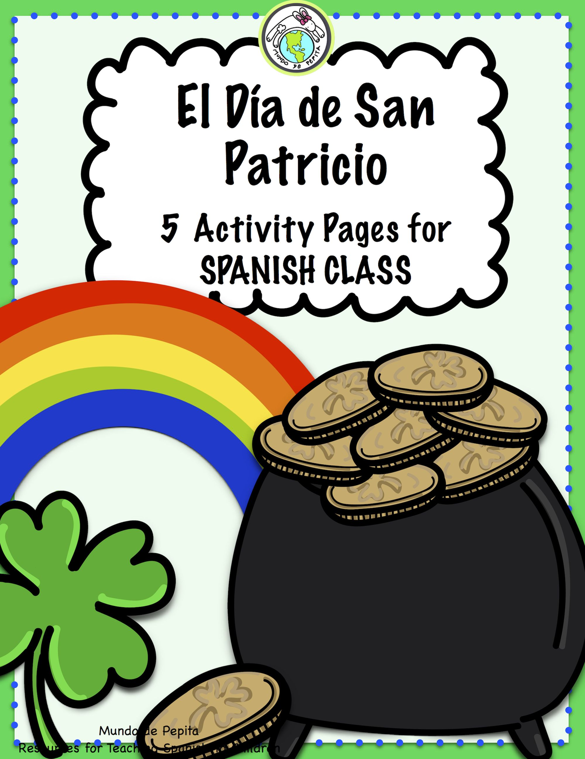 St Patrick S Day 5 Activity Pages In Spanish San Patricio