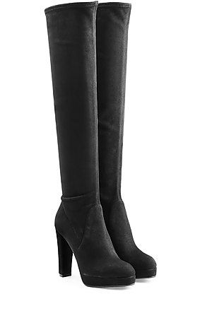 In black suede with a thick platform and tall heel, these Sergio Rossi boots are made even sultrier with an over-the-knee silhouette. Guaranteed to make a statement, the classic coloring is a grounding choice #Stylebop