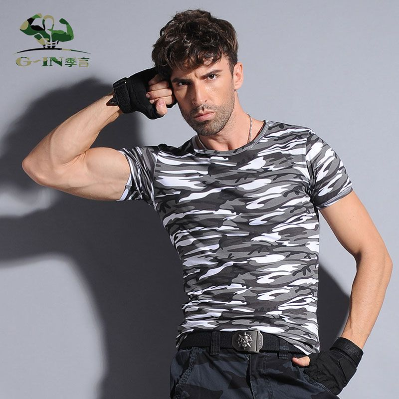 Summer Camouflage T-shirt Men Breathable Army Tactical Combat T ...