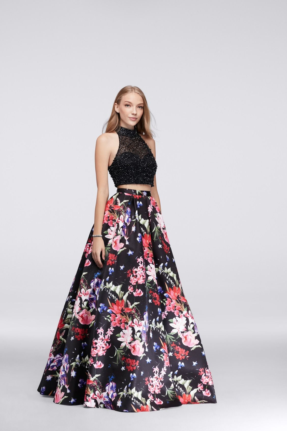 Beaded Top and Printed Ball Gown Skirt Set for prom | Shop floral ...