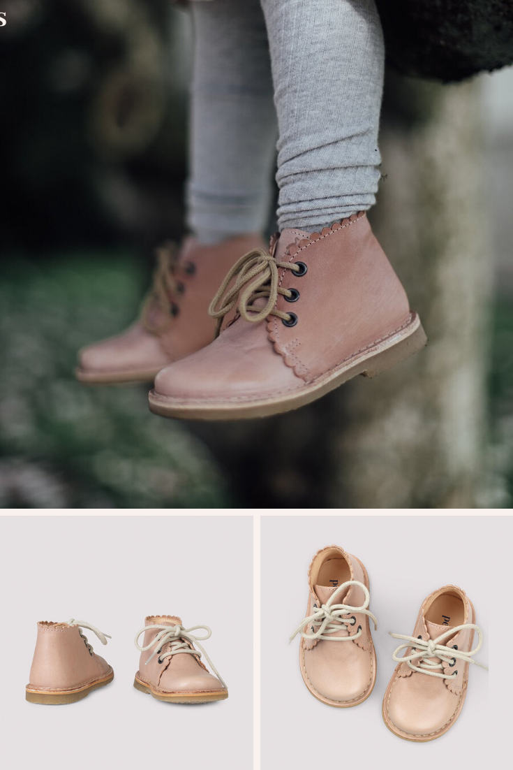 Scallop Boots for girls - Soft Pink in