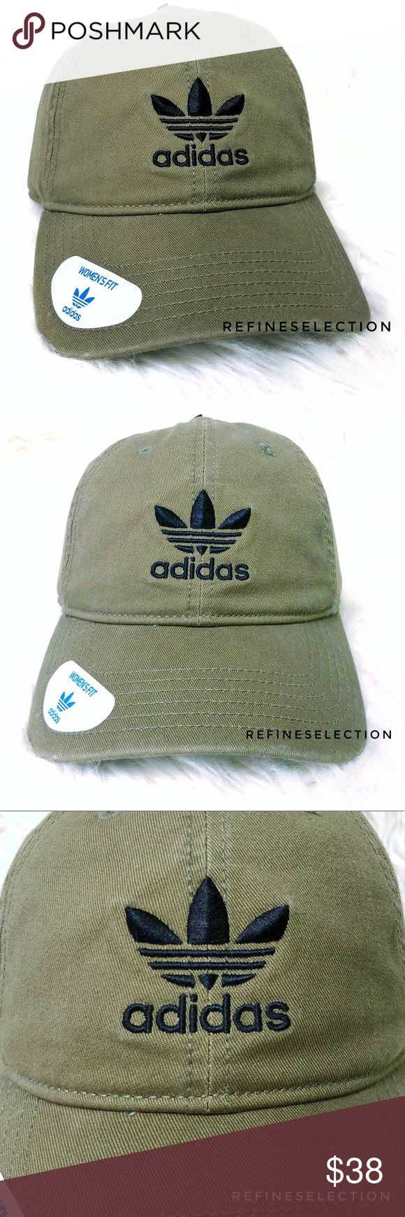 20a038ac7c4 adidas Olive Cargo Green Trefoil Strapback Dad Hat Brand new with tags