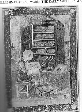 Ezra as scribe. c 700 Florence Biblioteca Medicca Laurenziana Codex Amiatimus 1 folio V. Bible.