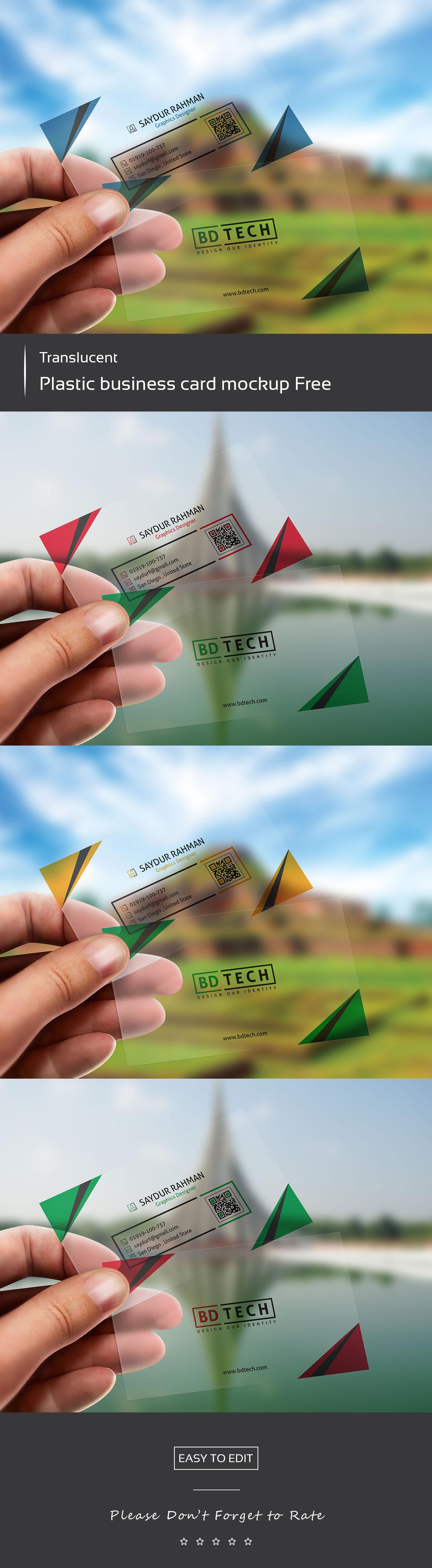 translucent plastic business card mockup free on behance