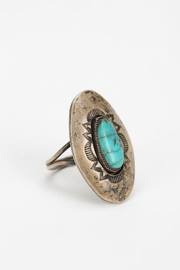 Vintage Engraved Turquoise Ring #urbanoutfitters