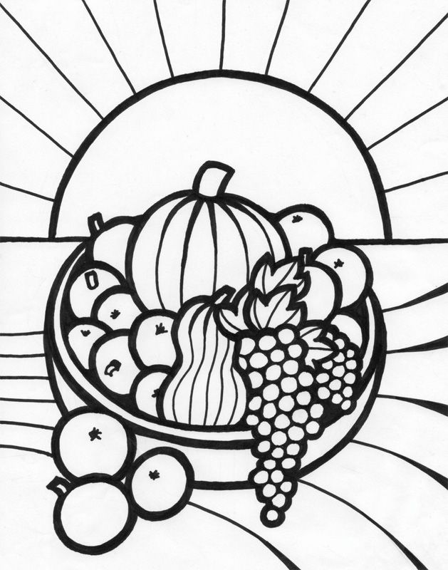 Coloring Pages Of Fruit Basket - Coloring Home | 800x629
