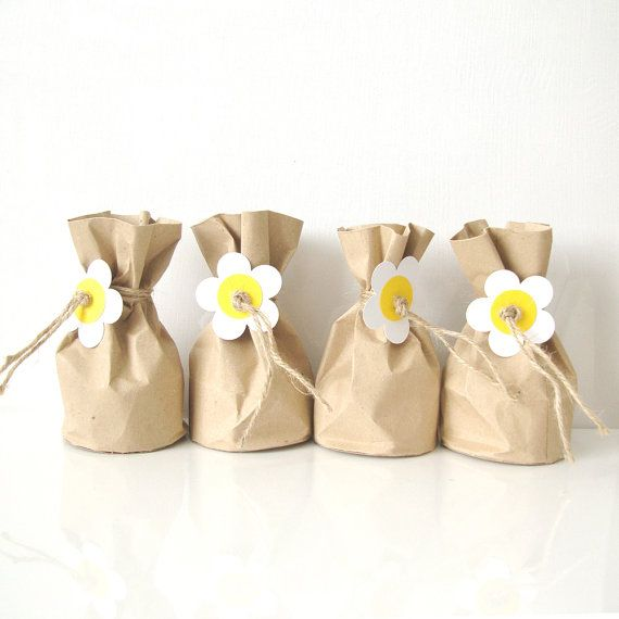 Items Similar To Favour Bags Paper Pouch With White Daisy On Etsy Paper Pouch Handmade Favors Favor Bag