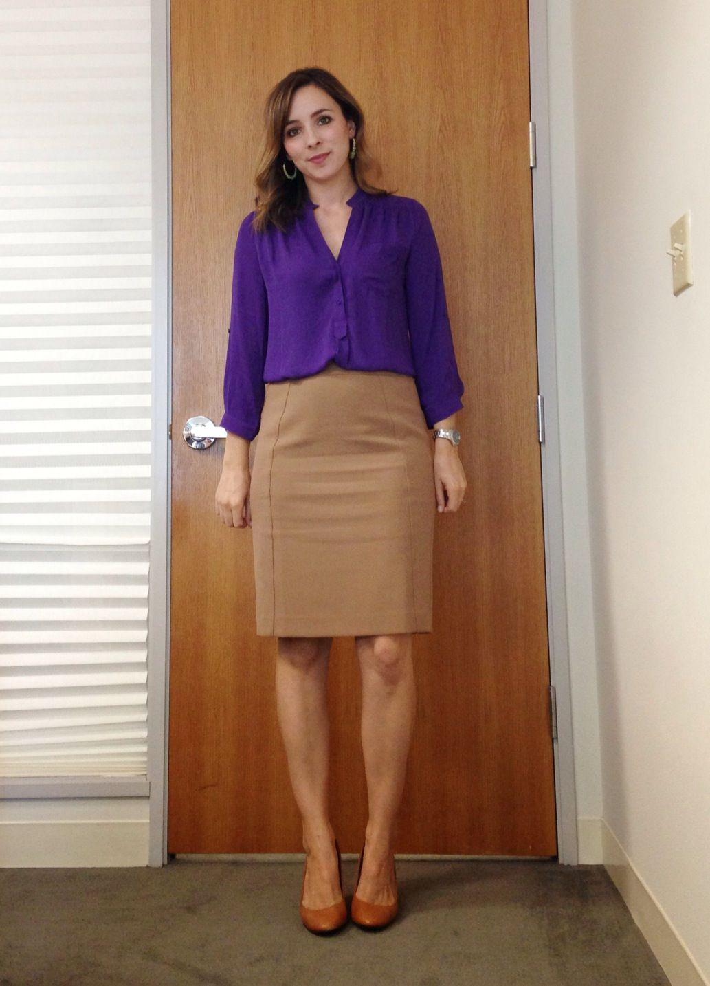 Nine Thirty To Five Royal Purple Shirtspencil Skirtspencil Office