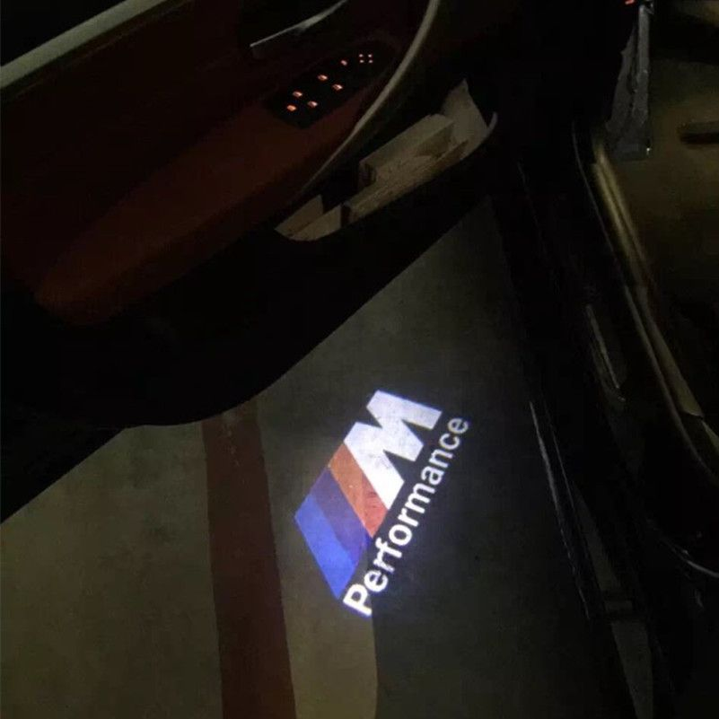 2x Led Door Warning Light For Bmw M Performance Logo Projector For