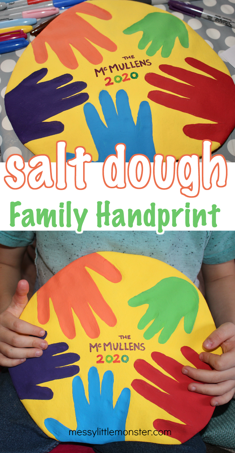 Salt dough family handprint keepsake