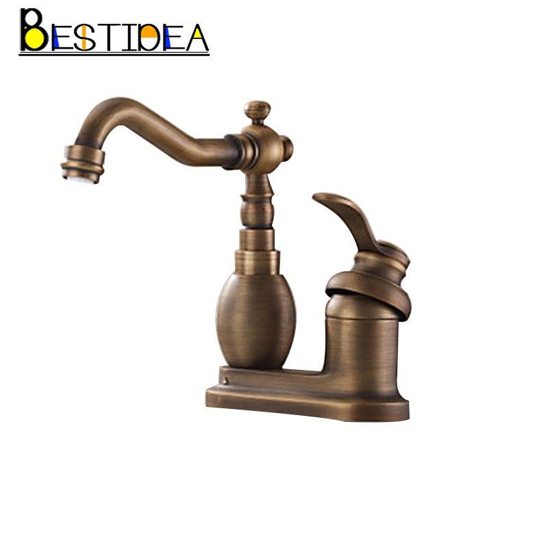 360 Swivel Antique Brass Single Handle Deck Mounted Basin Mixer Tap ...