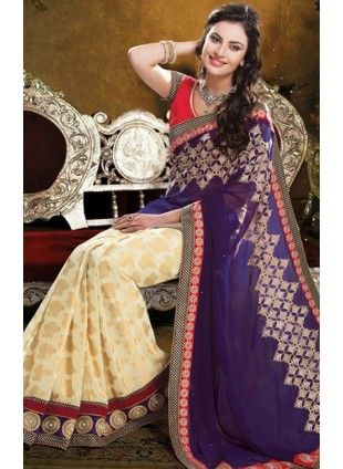 Latest Bollywood Styled Purple & Beige Colored #Saree