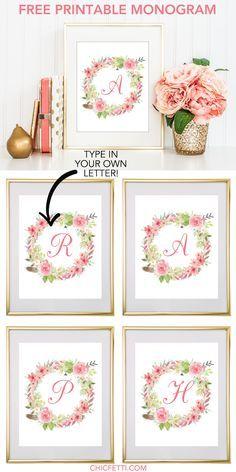 Watercolor Floral Wreath Monogram Maker Free Printable Monogram