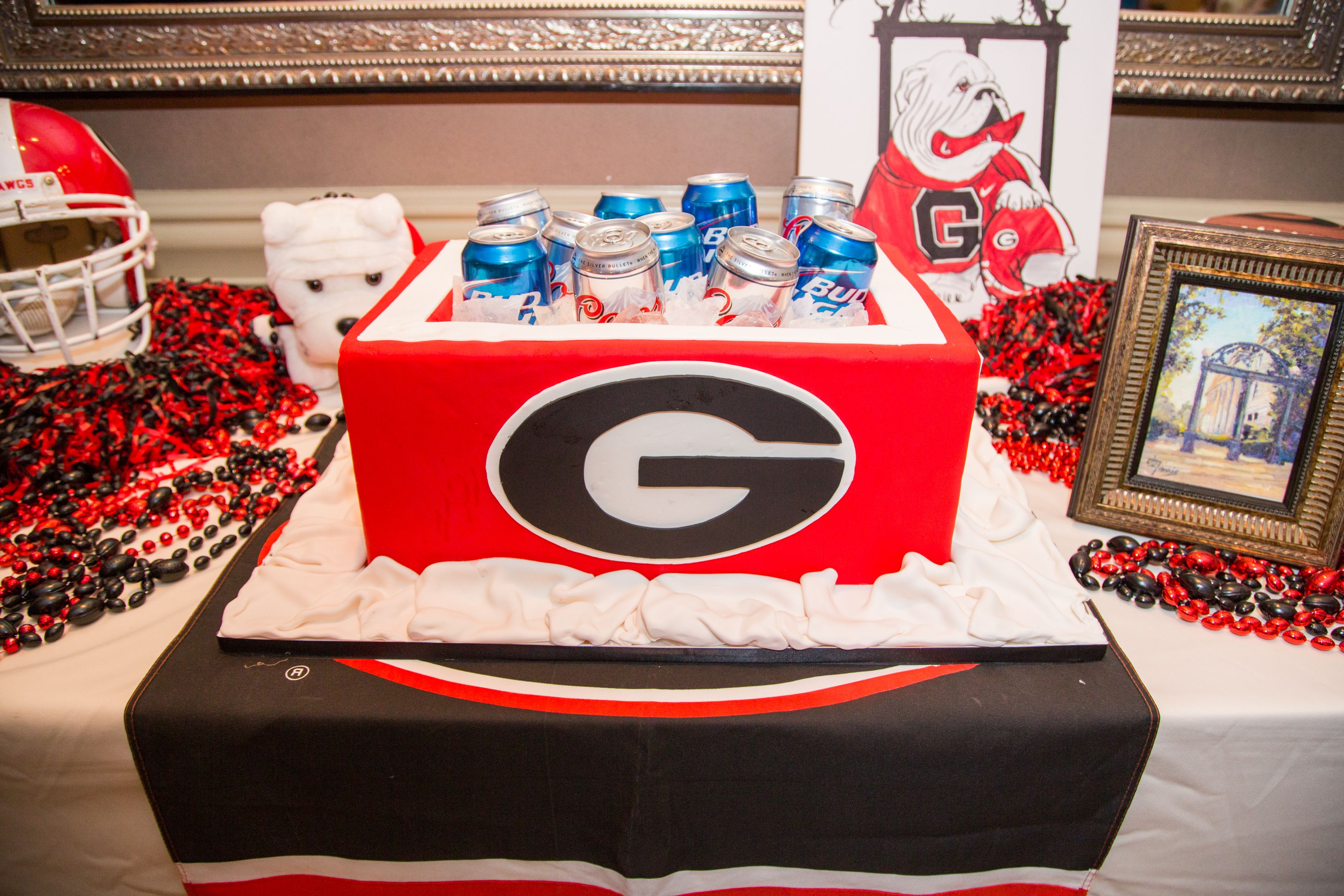 Go bulldogs beer cooler grooms cake honoring the