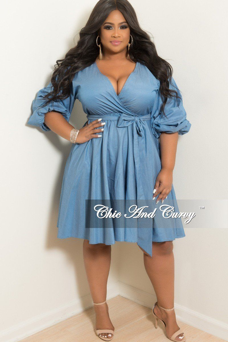 93344da0a35 New Plus Size Faux Wrap Short Dress with Puffy Sleeves and Attached Tie in  Light Denim