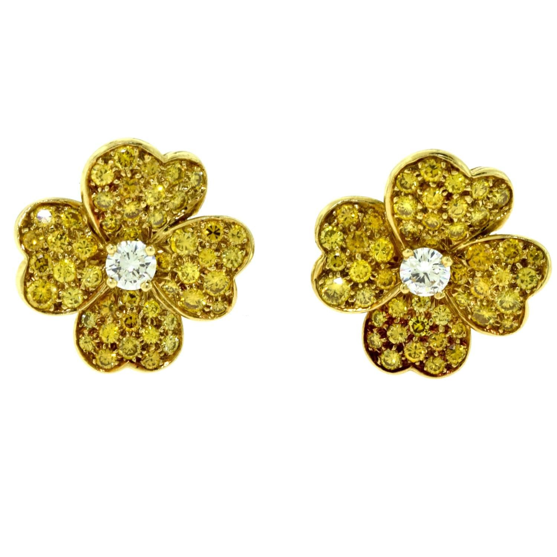 Van Cleef Arpels Lg Yellow Diamond Cosmos Flower Earrings Centre