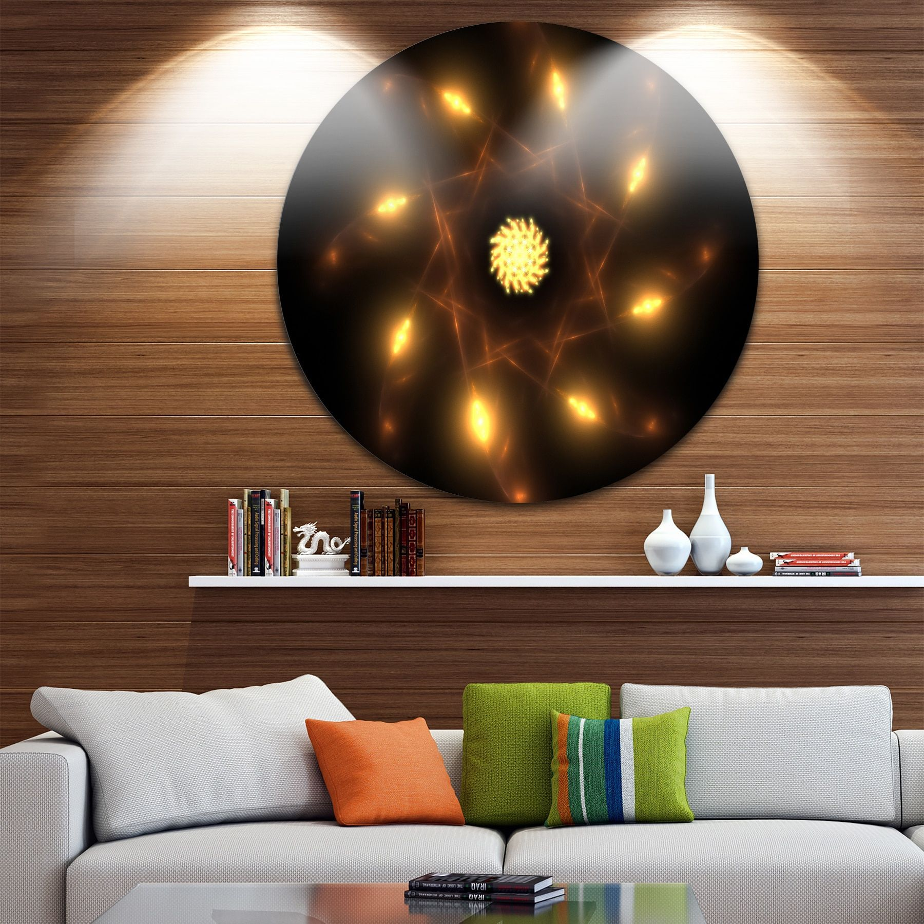 Designart 'Glowing Yellow Radial Fractal Flower Art' Floral Round Wall Art