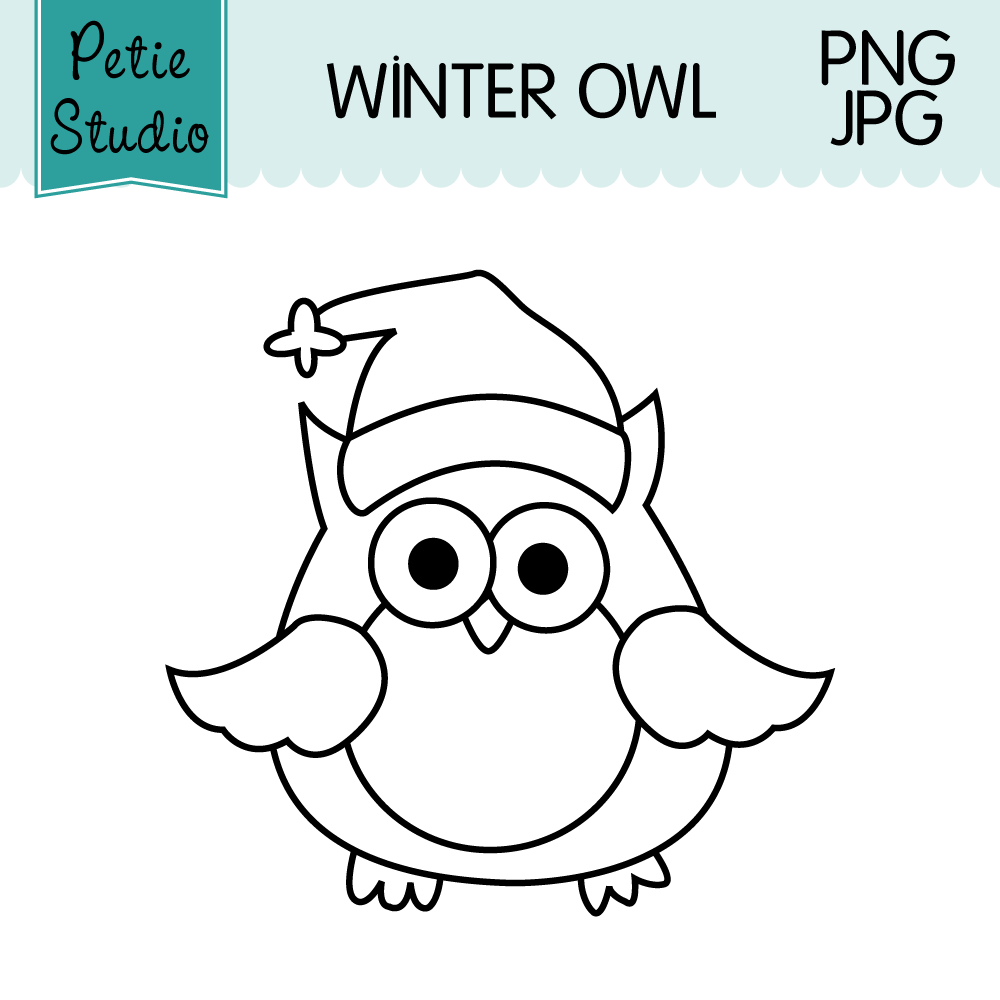 free winter owl wearing santa hat owl has black outlines so you