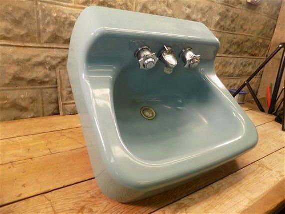 Photo of 1963 Blue American Standard Sink, Retro Bathroom, Porcelain Blue Sink ,, Vintage Bathroom Sink, Bathr