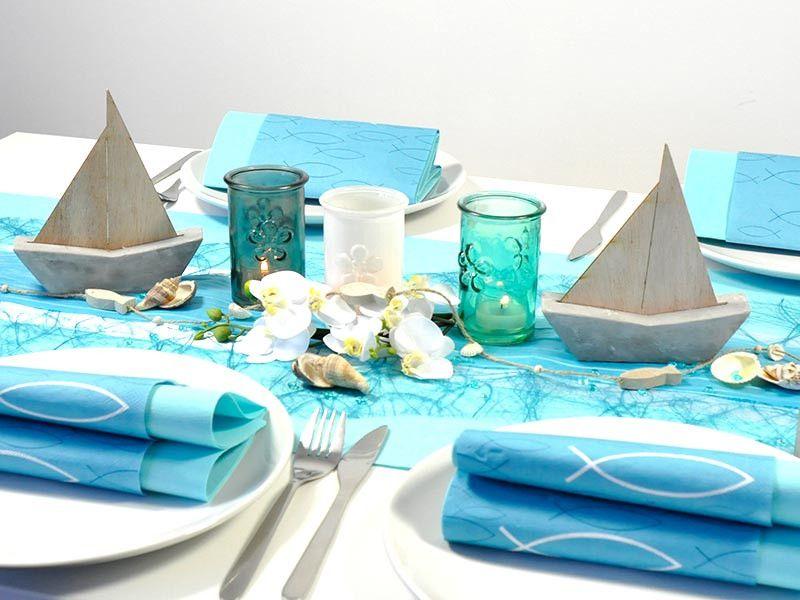 sch ne tischdeko zur kommunion oder konfirmation zum thema fisch schiffe in mintblue hier. Black Bedroom Furniture Sets. Home Design Ideas