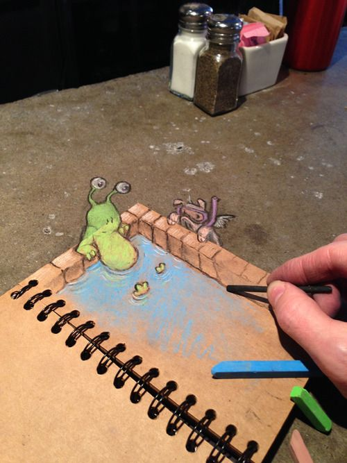 """David Zinn: """"When you've had a long day, there's nothing like having someone draw you a nice hot bath."""""""