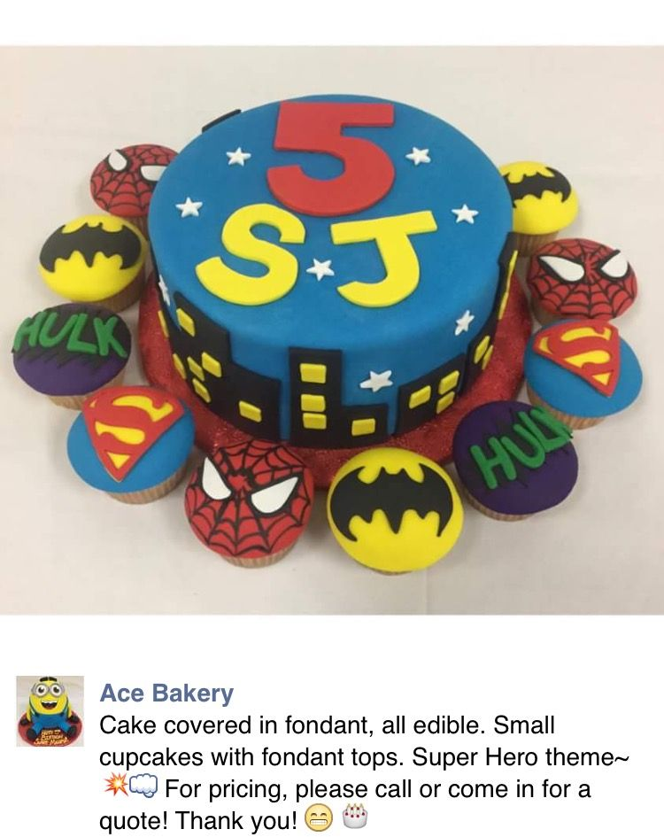 Ace Bakery Chicagoil Superhero Cake And Cupcakes Monaylizz