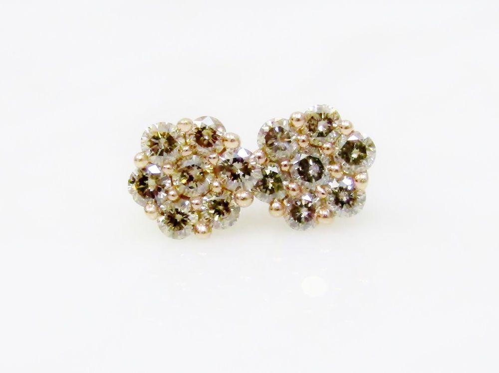 84 Ct Natural Champagne Diamond Cluster Flower Stud Earrings 10k Yellow Gold Flower Earrings Studs Champagne Diamond Stud Earrings