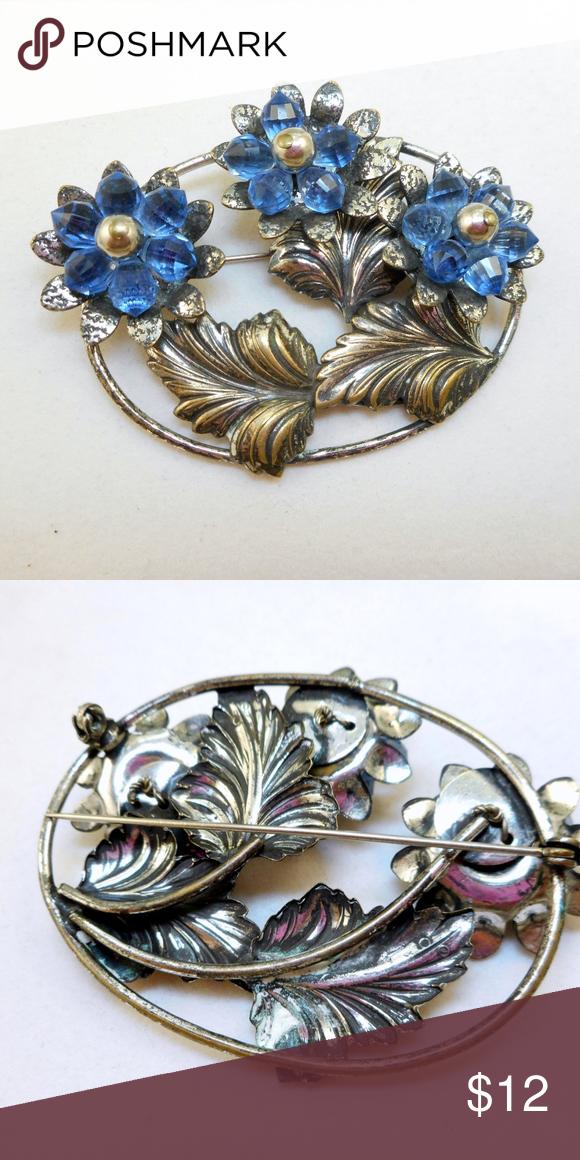 Vintage Blue /& Silver Floral Beaded Brooch