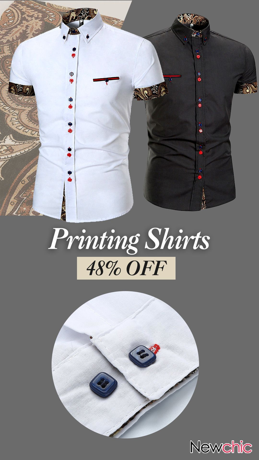Casual Printing Stitching Designer Shirts For Mencasual Style