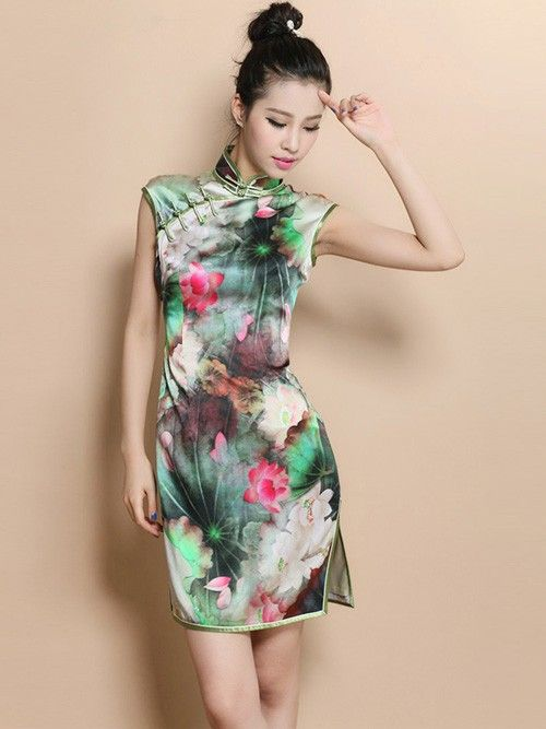 Green Custom Tailored Short Floral Qipao / Cheongsam Dress