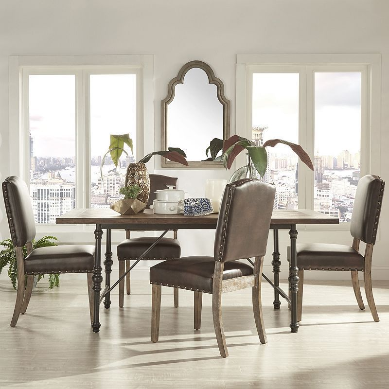 HomeVance Brookdale 5-piece Table and Chair Dining Set, Brown